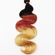 Overseas brazilian hair weave three tone ombre brazilian hair weave wet and wavy colored three tone hair weave