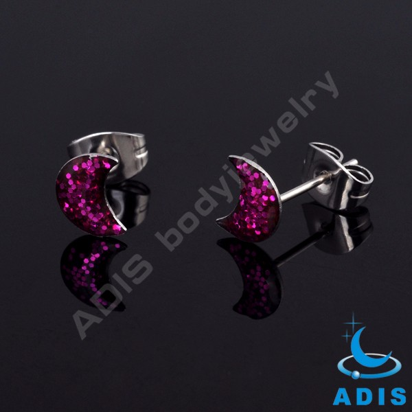 Wholesale women new style glitter stainless steel jewelry ear studs