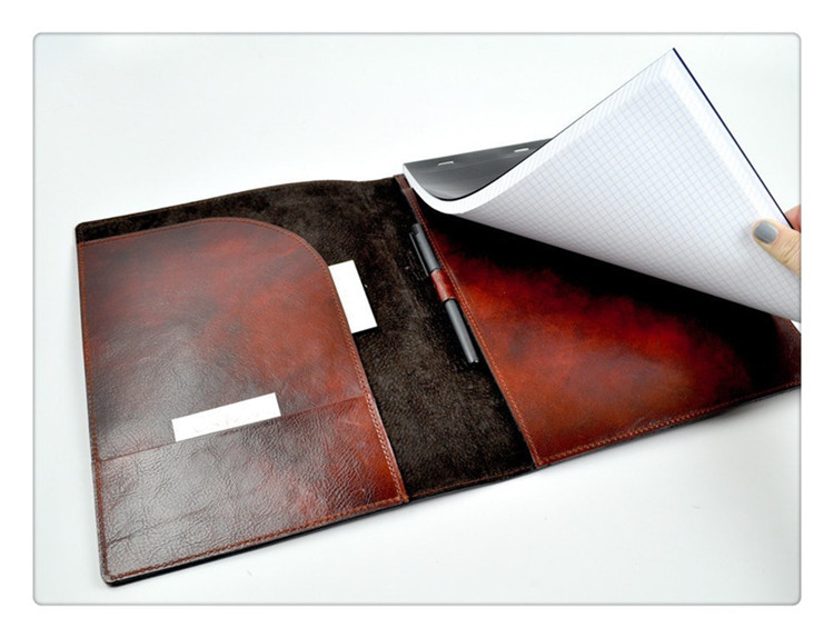 Letter-Size Luxury PU Or Genuine Leather Folio Folder Leather Padfolio with Closure