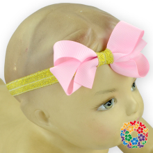 Wholesale Baby Girl Boutique Hair Peach Bows Sequin Band Headband Stretch Ribbon Headbands For Girls Baby Headband Wholesale