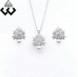 Fashion Elegant Round Pearl Pendant and Earrings Silver Plated Zircon Jewelry Set