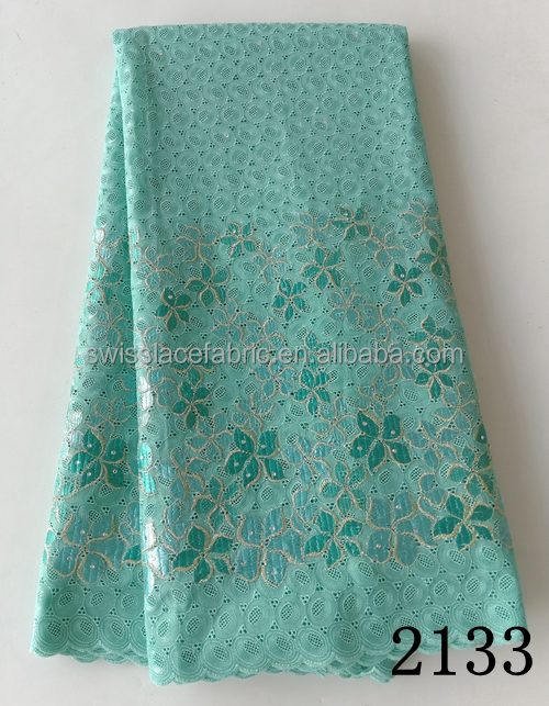Aqua african wrapper george african george, Eyelet Embroidery Voile Fabric