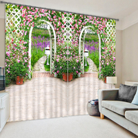 Digital printing beautiful garden wedding 3d curtains for the bedroom
