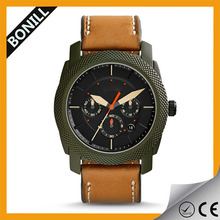 Top 10 OEM/ODM design cheap chronograph watch with tan leather band