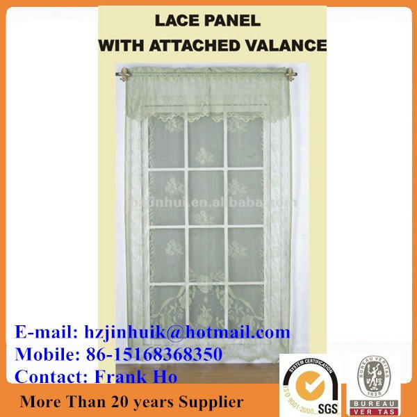 polyester jacquard ready made jacquard colored lace curtain for windows