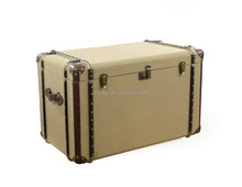 faux leather and fabric covered storage trunk table ,bedside table trunk