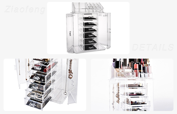 Wholesale Luxury Crystal Transparent Acrylic Large Display Clear Plastic Glass Jewelry Box With Drawer