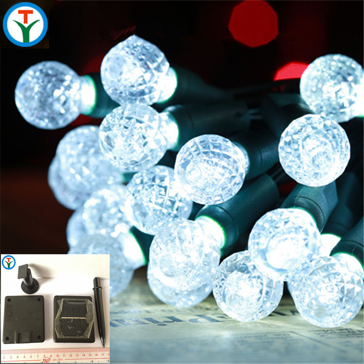 2017 Solar Powered 6M 30L LED Crystal Ball Globe Fairy String Lights for Outdoor Patio Party Decoration