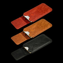 Luxury Genuine Leather Pouch Phone Case Leather Wallet Case with Pull Strap Card Holder for iphone 7