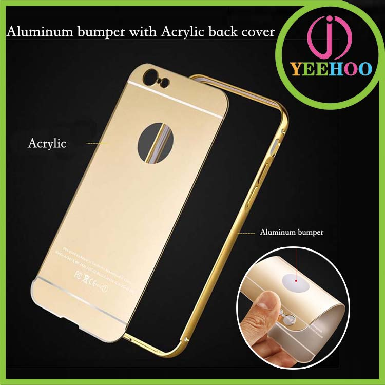 Full protective mobile phone cover for iPhone 6 with bumper and Mirror back case