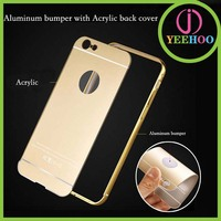 Full protective mobile phone cover for iPhone 6 with bumper and Mirror back plate