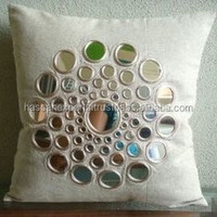 cushions cover with mirror embellishment