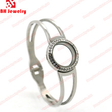 316L Stainless Steel Screw Top or Magnetic Floating living Glass Round Locket Bangle Bracelet