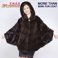 Fashion High Quality Women Mahogany Genuine Natural HOODED Real Mink Fur Stole Cape made in China for Women Coat