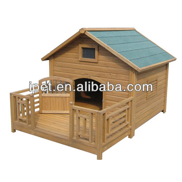 Wooden outdoor dog kennels with balcony DK006