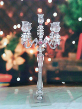 new products tall Cheap 5 Arms Wedding Crystal Candelabra for table decoration Crystal Glass Candle holder on Sale