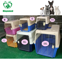 Easy to carry Dog Cat Plastic Travel Box Metal Pet Cages portable traveling cage