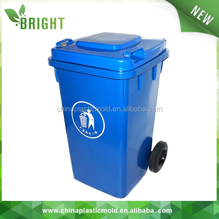 100 liter plastic dustbin with logo and plastic rubber wheels