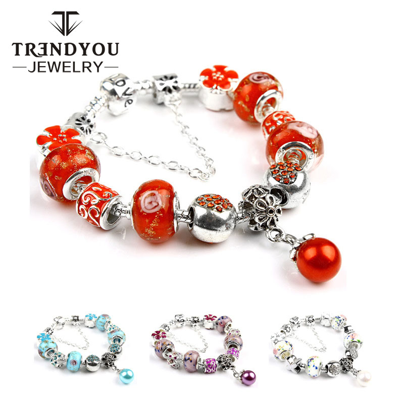 Wholesale Fashion Jewelry 2017 Silver Bracelets Murano Glass Crystal Beads Charm Bracelet For Women