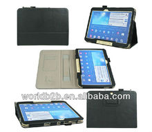Leather stand case for samsung galaxy tab 3 10.1 with elastic band