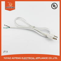 American UL three cord white plug SJT 3X18AWG 15A 125V CUL braided copper wire