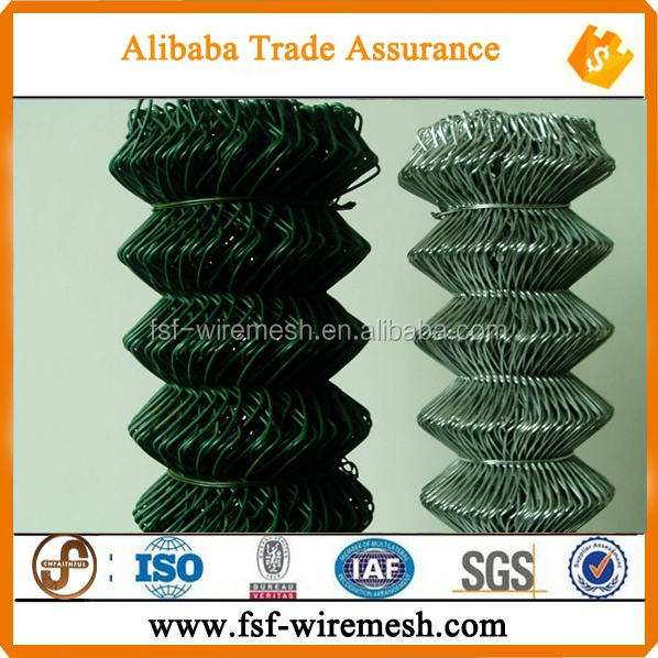 galvanized chain link fence/diamond wire mesh/pvc coated chain link fence