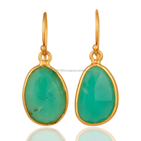 New Design Beautiful Drop Earring, chrysoprase Gemstone Gold Plated Earring, Attractive Silver Jewelry