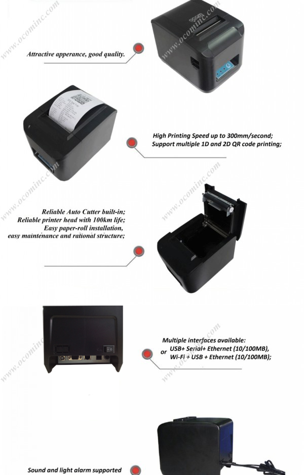 High Speed Auto-cutter 80mm WIFI Thermal Receipt Printer(OCPP-808-W )