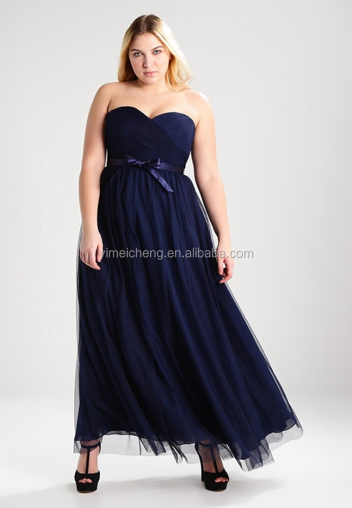 Navy blue strapless chiffon tulle evening dress prom party gown for fat women