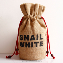Natural fabric custom logo printed wholesale jute coffee bean bag gift bag
