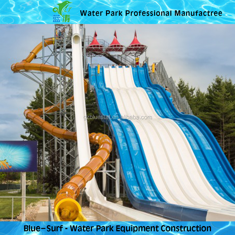 Free Fall Fast High Speed Fiberglass Water Slides For Water Park