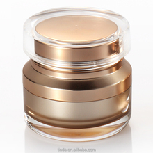 hot sale empty double wall round shape luxury acrylic cosmetic cream packaging plastic jar