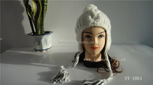100% acrylic cable fleece linner hand knitted hat