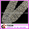 Sequin Rhinestone Trim Bridal Applique Beaded Motif Crystal Pearl Applique