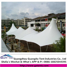 Permanent tensile membrane corridor outdoor shade structures