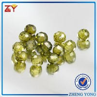 Best selling synthetic precious stone olive green facted cut ball shape synthetic stone/ cz stone for jewelry making