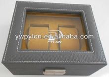 leather watch box for double watches with PVC showcase