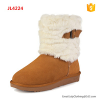 2017 Winter Shoes Ladies Classy Cow Leather Suede Soft White Plush Snow Boots with Buckles