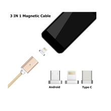 Magnetic charging cable for iphone/android/type c smartphone,data transfer magnetic cable