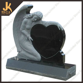 Hebei black granite angel headstones