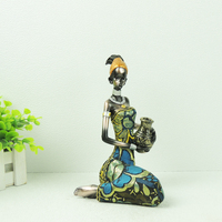 New Design Hand Made Polyresin Adult African Woman Figurine