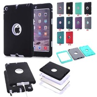 3 In 1 Hybrid Shockproof Rubber Rugged Cover Case For iPad Mini 1 2 3