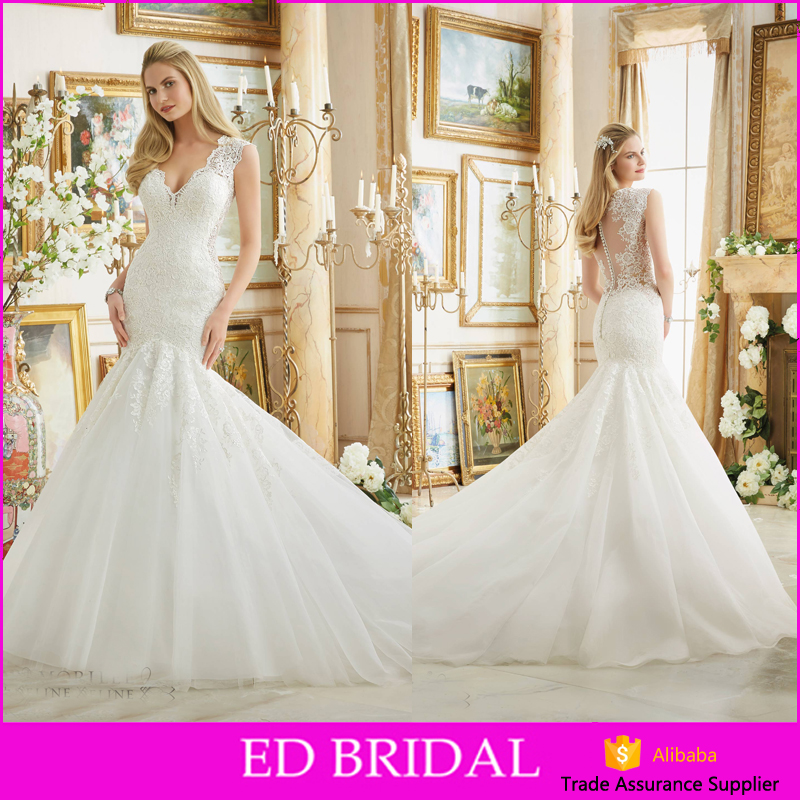 Custom Made V Neckline See Through lace Flare Mermaid Robe De Mariage Sale Online Wedding Dresses China
