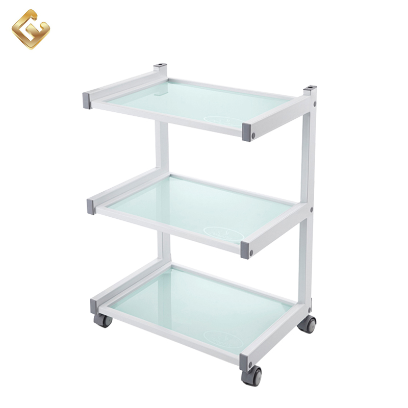 2017 beauty salon equipment glass shelf facial salon trolley wholesale