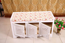 Solid wood furniture in shoes stool White rural style storage stool Korean receive stool shoe cabinet