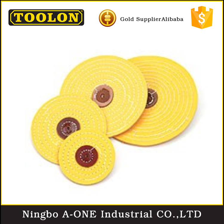China manufacturer 100% cotton cloth yellow abrasive cloth buffing wheel