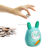 custom make rabbit shape plastic piggy banks, make OEM design rabbit shaped piggy bank
