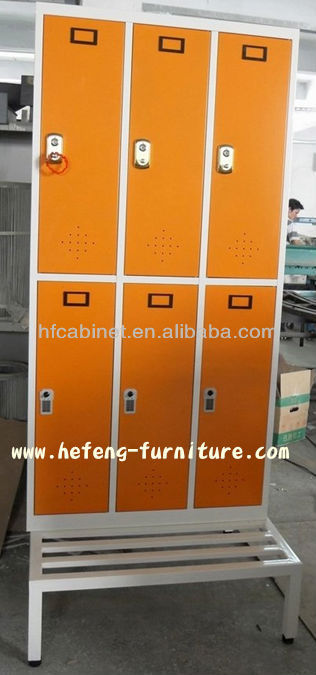 Salon Orange Color Cabinet with Bench