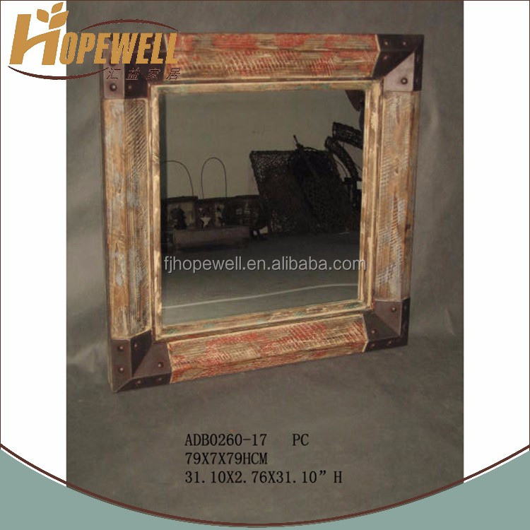 natural wood square wall mirror , price per meter wall mirror