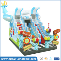 Inflatable slide, giant trampoline slide